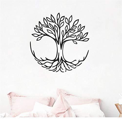 Calcomanías De Arte De Pared De Árbol De La Vida Símbolo De Conexión Yoga Espiritual Vinilo Etiqueta De La Pared Sala De Estar Mural De Arte Decoración 56X56Cm