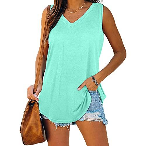 WAEKQIANG T-Shirt da Donna in Tinta Unita Senza Maniche con Scollo A V Casual da Donna di Nuovo Stile Estivo