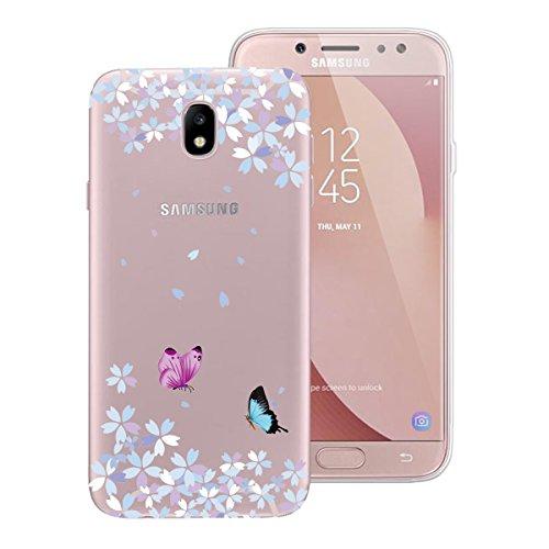 Yokata Funda para Samsung Galaxy J5 2017 Transparente Carcasa Silicona Ultra Fina Suave TPU Gel Bumper Case Protección Anti-Golpes Anti-Choque con Dibujos Shell Cover - Mariposa y Flor