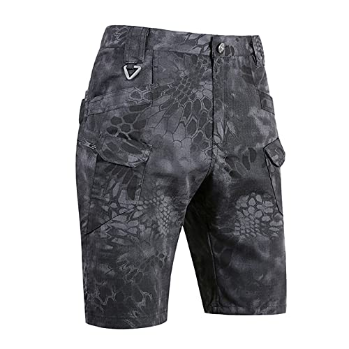 ZDJH Men's Camouflage Cargo Shorts Waterproof and Scratch-Resistant Multifunction Outdoor Casual Shorts