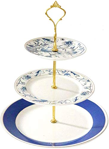 YBK Tech Euro Style 3 Tier Porcelain Bone China Stylish Cake Plate Stand Dessert Display Cakes Platter Food Rack- Blue Flowers