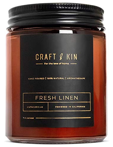 Fresh Linen Candle | Premium Scented Candles for Men & Women | Spring Candles | All-Natural Soy Candles, Rustic Home Decor Scented Candles, Non-Toxic, Ultra Clean Burn Aromatherapy Amber Jar Candles