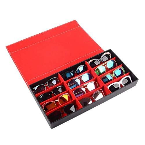 YIQIFEI Aufbewahrungsbox für Karierte Brillen mit 12 Schlitzen, rote Aufbewahrungstasche für PU-Leder, zur Aufbewahrung und Präsentation von Sonnenbrillen, Schmuck, Uhren und Handwerkzeugsets