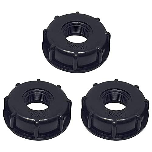 XYDZ 3PCS S60x6 Depósito IBC Tapa de Adaptador Cubierta para Tapa Tanque de Almacenamiento Roscado Plástico Contenedor de Líquidos Adaptador Manguera Jardín Rosca Interior Accesorio Agua-Negro