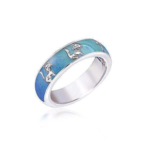 MATERIA Damen Ring Katze 925 Silber Emaille blau rhodiniert deutsche Fertigung #SR-140, Ringgrößen:54 (17.2 mm Ø)