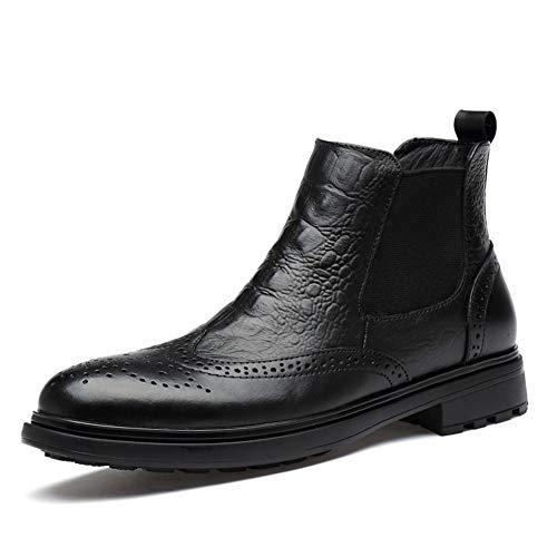 YuanBo Wu Winter enkellaars for mannen Chelsea Boot echt leder ronde neus in reliëf Brogue Carving (Lace up & fleece gevoerde Option) (Color : Black, Size : 37 EU)