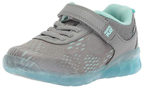 Stride Rite Girls' Made2Play Lighted NEO Sneaker, Grey/Blue, 8.5 W US Toddler