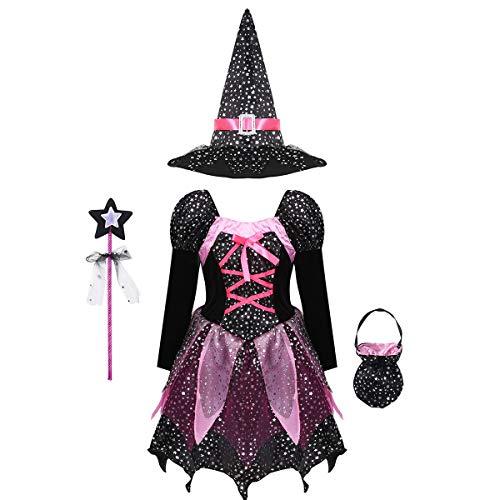 YiZYiF Costume Strega Bambina Carnevale Costume di Streghetta 4 Pcs Vestito Glitter/Cappello di Strega/Borsa/Banchetto Set di Travestimento Carnevale Fancy Dress Cosplay Nero 7-8 anni