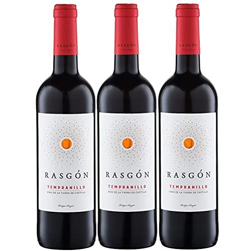 Rasgon Tempranillo Rotwein Wein halbtrocken Spanien (3 Flaschen)