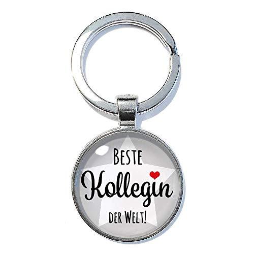 Beste Kollegin der Welt ABOUKI handgefertigter Schlüsselanhänger Taschenanhänger Glücksbringer mit Spruch Geschenk-Idee Büro Lieblingskollegin 25mm