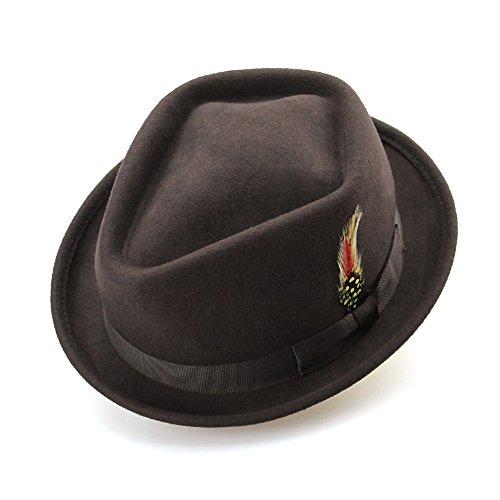 Wangxi 100% Lana de Australia Sombreros de Invierno de Fieltro de Fieltro de Mujer con Sombrero (Color : Coffee, Size : 56-58cm)