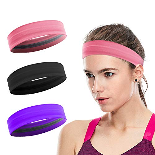 Workout Headbands for Women, XiXov 3 Pack Stay Put Sweatbands for Women, Head Bands Women Hair, Non-Slip Elastic Sweat Band Head Bands for Sports, Yoga, Fitness, Athletic, Bike (Black + Pink + Purple)