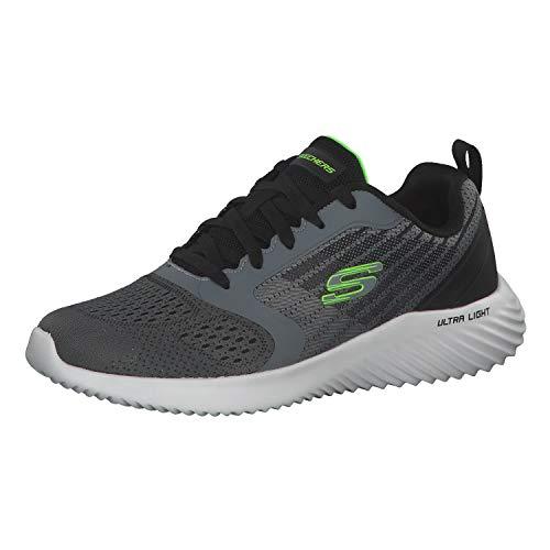 Skechers Bounder Verkona, Zapatillas Hombre, Gris (Charcoal Mesh/Gray Synthetic/Trim Ccgy), 42 EU