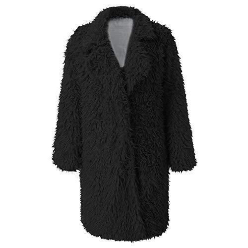 Abrigo para Mujer Chaqueta de Abrigo de Lana Artificial cálida Solapa Estilo Largo Ropa de Abrigo de Invierno Veste