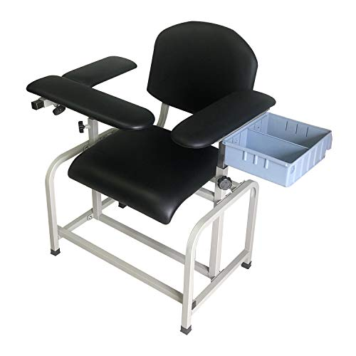 Helsevesen Comfortable Padded Blood Drawing Chair with Side Storage Bin, Clinical Chair with Soft Padded Seat, Phlebotomy Chair with Adjustable Armrest