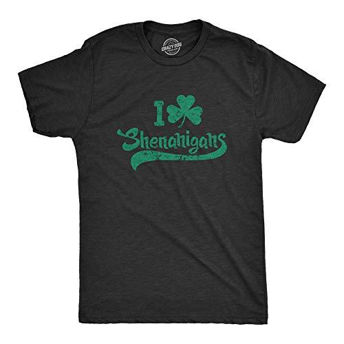 Camiseta masculina I Clover Shenanigans engraçada trevo irlandês Dia de São Patrício, Preto mesclado, S