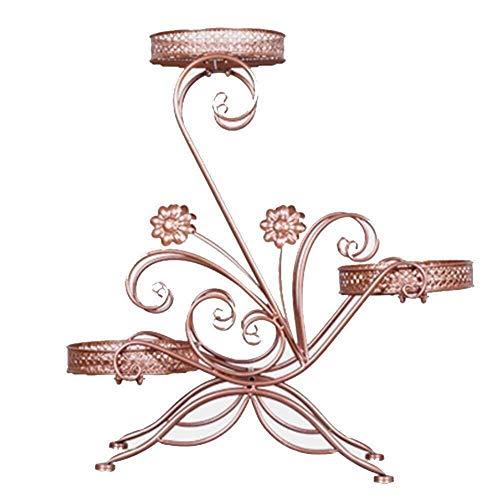 HBY-STAND Blumenständer aus Metall für den Außenbereich, Balkon, multifunktional, 3-stöckig, Blumenständer, Blumenständer Messing