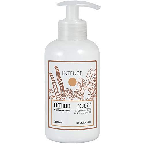 UMIDO Body-Lotion 250 ml Kardamom-Extrakt & Sandelholz-Extrakt - FREI von Silikonen, Parabenen, Paraffinen, Mineralölen und künstlichen Farbstoffen - Körper-Lotion - 1 x 250 ml (4-KPF)
