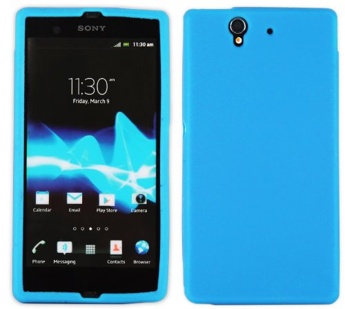 Carcasa Funda para Sony Xperia Z L36i–Diferente modelos disponibles: Simple silicona, diamante, Inner Scrub, TPU, funda rígida, piel sintética Simple - Bleu Clair