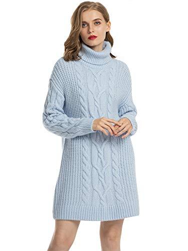 MessBebe Jersey Mujer Largo Vestido Jersey Invierno Cuello Alto Manga Larga Vestido Tejido de Punto Grueso Suéter Gran Tamaño Chaqueta Mini Falta Ropa Elegante para Mujer Fiesta Negocios Casa