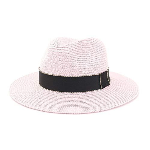 LHZUS Sombreros de paja para mujer, protección solar, gorros de verano, de ala ancha, plegable, para viajes, enrollables, UPF50 (color: rosa, tamaño: 56-58 cm)