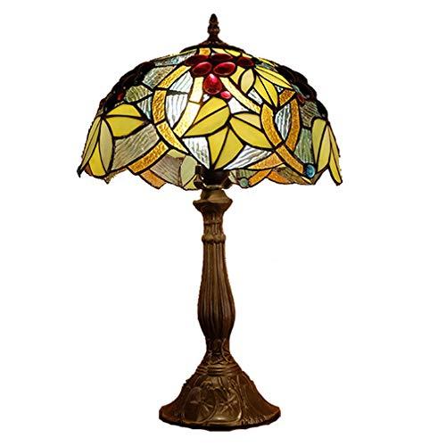 Tafellamp, Tiffany, bureaulamp, lampenkap van getint glas, bloem, retro, lamp voor woonkamer, eenvoudige stijl