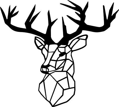 Hansmeier® Wanddeko aus Metall | 42 x 47 cm | Wasserfest | Für Außen, Innen, Balkon & Garten | Metalldeko | Deko Industrial | Motiv Hirschkopf