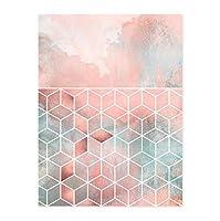 インテリア 絵画 壁飾り モダンなピンクの幾何学的な抽象的なダイヤモンド形のキャンバスプリント絵画ポスターダイヤモンド形の壁の写真リビングルームの家の装飾40 * 60cmフレームレス