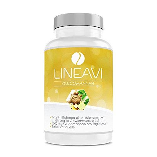 LINEAVI Glucomanano, 3000 mg de glucomanano, fibra natural procedente de la raíz de konjak que ayuda a perder peso, cápsulas que sacian el hambre, fabricado en Alemania, 120 cápsulas