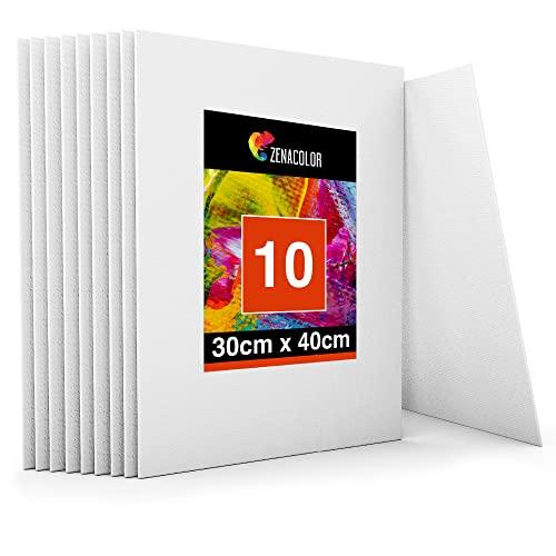 Zenacolor - Set de 10 Canvas - Lienzos para Pintar 30x40cm - Todos los Tipos de Pintura sobre Tela - 100% Algodón sin Ácidos