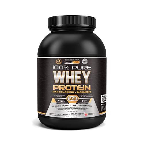 Whey protein isolate 100% pura   Proteine whey isolate + collagene + magnesio   Proteine del siero di latte isolate per lo sviluppo muscolare   Massa muscolare pulita   30 dosi (Fragola)