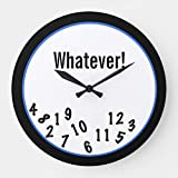 OSWALDO Whatever! Funny Custom Decorative Round Wooden Wall Clock - 12 inch