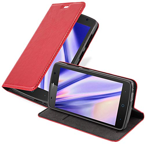 Cadorabo Hülle für ZTE Blade L5 Plus in Apfel ROT - Handyhülle mit Magnetverschluss, Standfunktion & Kartenfach - Hülle Cover Schutzhülle Etui Tasche Book Klapp Style