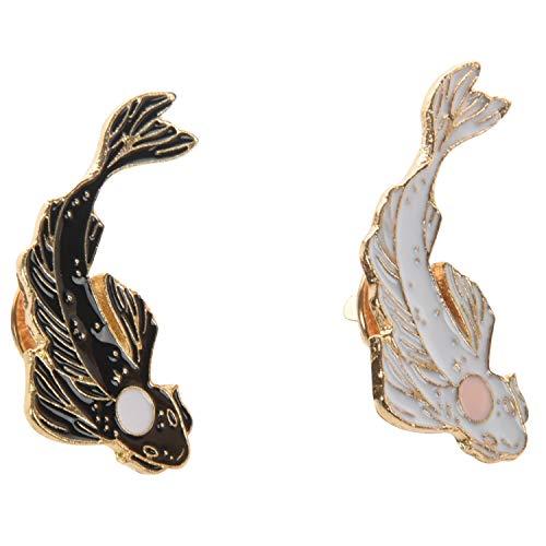 Cuasting 2 broches de Yin-Yang con diseño de peces esmaltados, color negro, blanco, rosa, carpa, koi, insignias de peces japoneses, joyería de disfraz lindo broche Xz1321/Xz1323