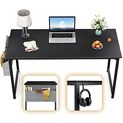CubiCubi Computer Desk Study Writing Table for Home Office, Modern Simple Style PC Desk, Black Metal Frame