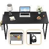 CubiCubi Computer Desk 47' Study Writing Table for Home Office, Modern Simple Style PC Desk, Black Metal Frame, Black
