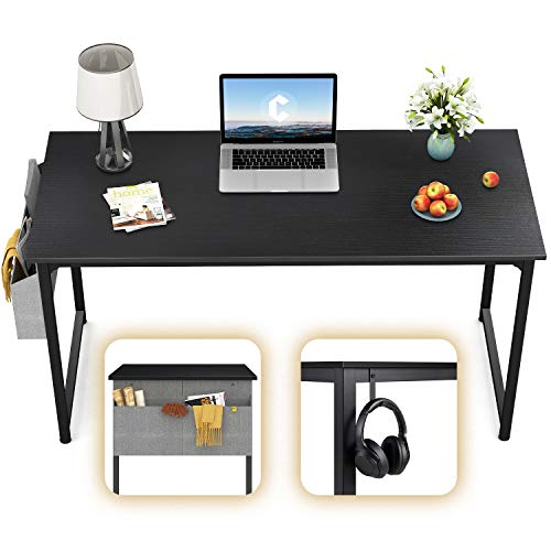 CubiCubi Computer Desk 47' Study Writing Table for Home Office, Modern Simple Style PC Desk, Black Metal Frame, Black