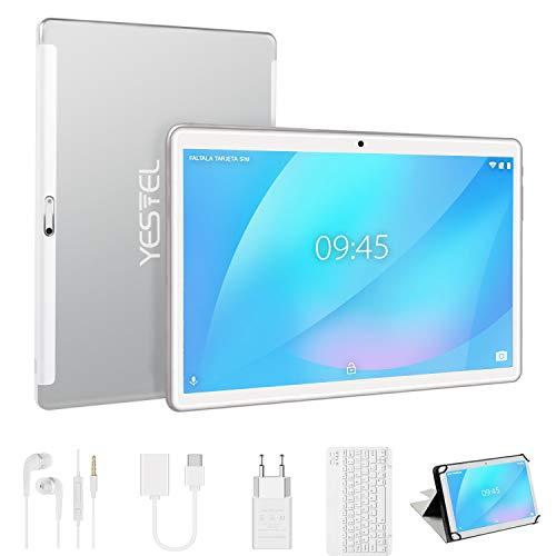 Tablet 10 Pulgadas, Android 9.0 Pie YESTEL tablets, 4 GB de RAM, 64 GB Ampliables hasta 128 GB, Procesador Quad-core, Pantalla HD IPS, Dual SIM LTE/WiFi, 8000mAh Batería, con Teclado, Color Plata