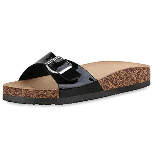 SCARPE VITA Damen Sandalen Pantoletten Lack Sommer Hausschuhe Schlappen Korkoptik Schuhe Bequeme Sommerschuhe 183345 Schwarz Black 37