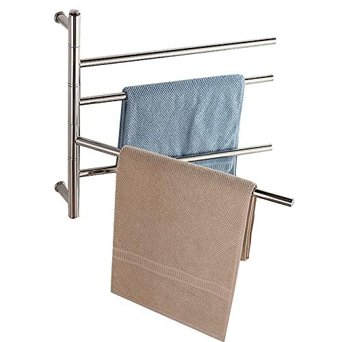 Toallero eléctrico de 4 barras para baño, portátil, montado en la pared,...