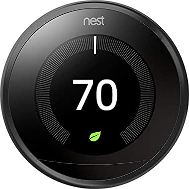Nest 9750016 T3016US Thermostat, 3.3 x 1.2 x 3.3, Black