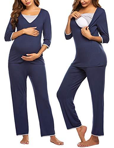 MAXMODA Pyjama d'allaitement à Manches Longues pour Femme - - X-Large