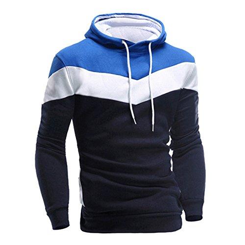 MORCHAN Hommes Rétro à Manches Longues à Capuche Sweat à Capuche Hauts Outwear Manteau de Veste(XXX-Large,Marine)