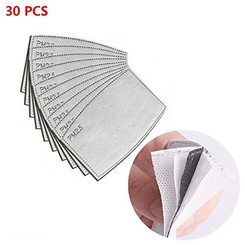 IUTE PM2.5 Aktivkohlefilter, 5 Schichten auswechselbare Anti-Dunst-Filter, Schutz-Mundfilter für den Außenbereich (30 PCS)
