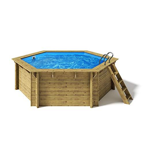 Paradies Pool® Holzpool Lani Premium Komplettset inkl. Filteranlage für 50er Verrohrung, Tiefbeckenleiter, Blaue Folie mit 0,8mm Stärke, Sechseck-Pool, 421 x 118 (Ø x H), Menge: 1 Stück