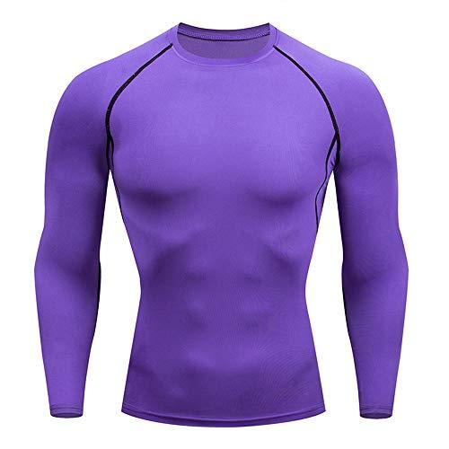 BEIXUNDIANZI T-Shirt Compression Homme Maillot Manches Longues Séchage Rapide Vetement de Fitness pour Football Jogging Cyclisme Running Course à Pied M