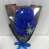 HGDD 18 stücke Kreative duftende künstliche Seife Blumen Rose Bouquet Geschenkbox Simulation Rose Valentinstag Birthday Geschenk Dekor (Color : Blue, Size : Black Bag)