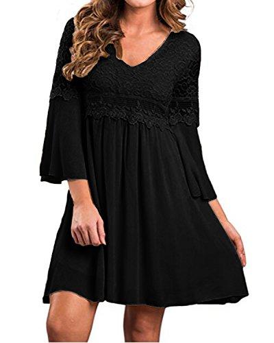 Zanzea Femme Robe Dentelle de Soirée Cocktail Mousseline Robe de Cérémonie Partie Taille Haut Chic Robe de Demoiselle 3/4Manche Noir XL