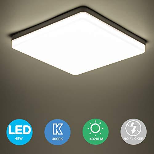 Yafido LED Plafoniera 48W Ultra Magro UFO Pannello LED Quadrata Bianco Naturale 4000K 4320LM Lampada da Soffitto per Soggiorno Camera da letto Bagno Cucina Corridoio e Balcone 30 * 30 * 4cm