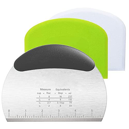 Edelstahl Teigschneider Teigschaber Teigschaberkarte Silikon 3 Stück Teigspachtel,Dough Scraper Card Spatelset für Kuchen, Pizza, Brotschneiden, Küchenbedarf